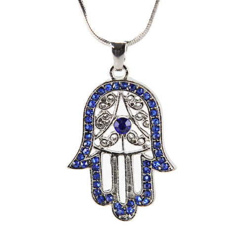 Blue Hamsa Necklace Hand of God Evil Eye Charm Pendant Jewish Judaica Kabbalah
