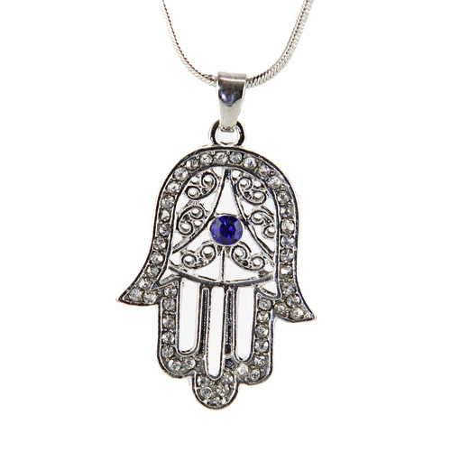 White Hamsa Necklace Hand of God Evil Eye Charm Pendant Jewish Judaica Kabbalah