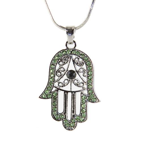 Green Hamsa Necklace Hand of God Evil Eye Charm Pendant Jewish Judaica Kabbalah