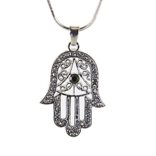 Black Hamsa Necklace Hand of God Evil Eye Charm Pendant Jewish Judaica Kabbalah
