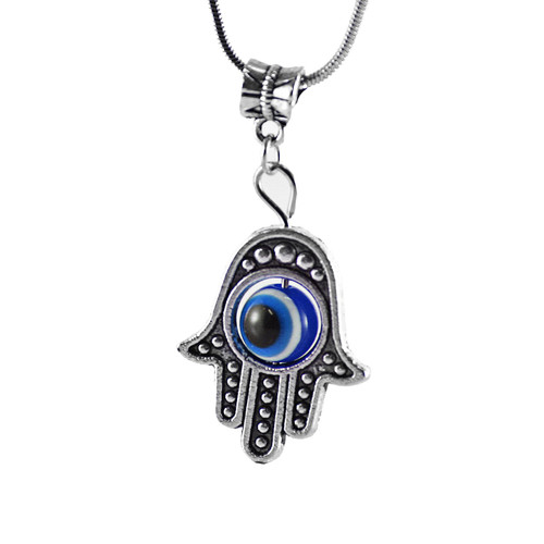 Blue Hamsa Hand of Fatima EVIL EYE Necklace Lucky charm Choker karma Pendant