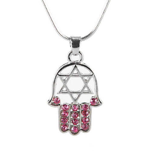 "Red HAMSA ""Star of David"" Necklace Crystals silver Tone Amulet Pendant Jewish"
