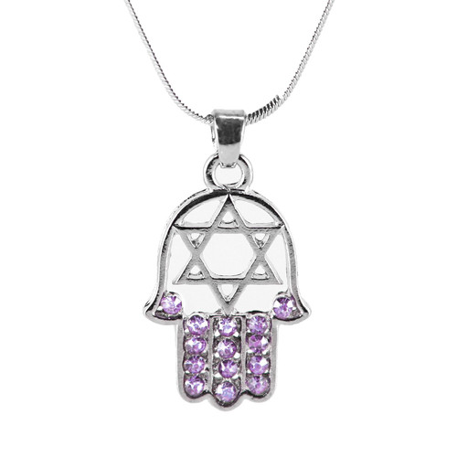 "Purple HAMSA ""Star of David"" Necklace Crystals silver Tone Amulet Pendant Jewish"