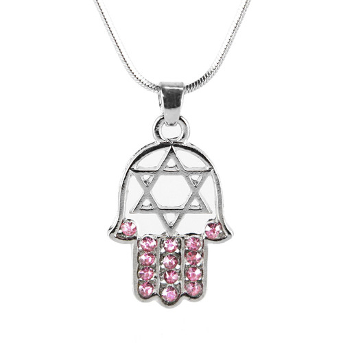 "Pink HAMSA ""Star of David"" Necklace Crystals silver Tone Amulet Pendant Jewish"