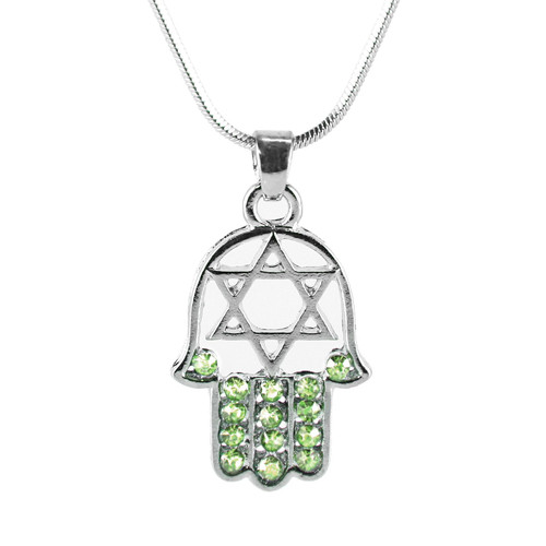"Green HAMSA ""Star of David"" Necklace Crystals silver Tone Amulet Pendant Jewish"
