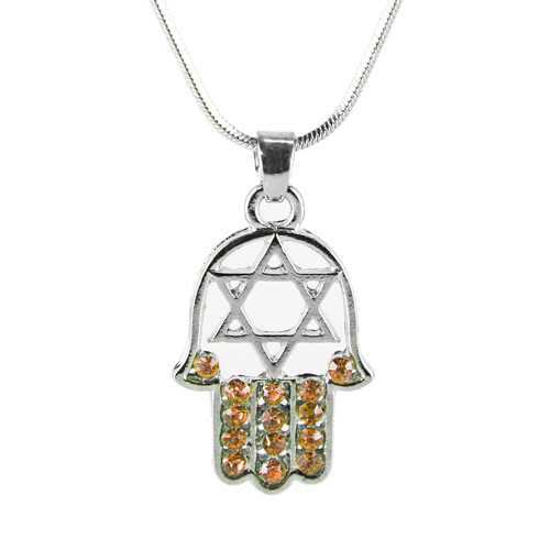 "Orange HAMSA ""Star of David"" Necklace Crystals silver Tone Amulet Pendant Jewish"