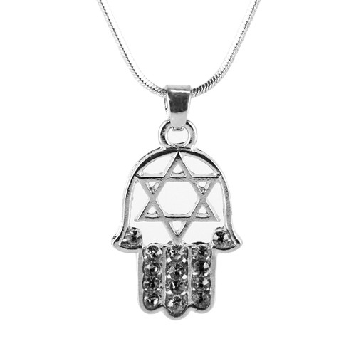 "Black HAMSA ""Star of David"" Necklace Crystals silver Tone Amulet Pendant Jewish"