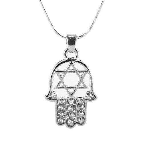 "White HAMSA ""Star of David"" Necklace Crystals silver Tone Amulet Pendant Jewish"