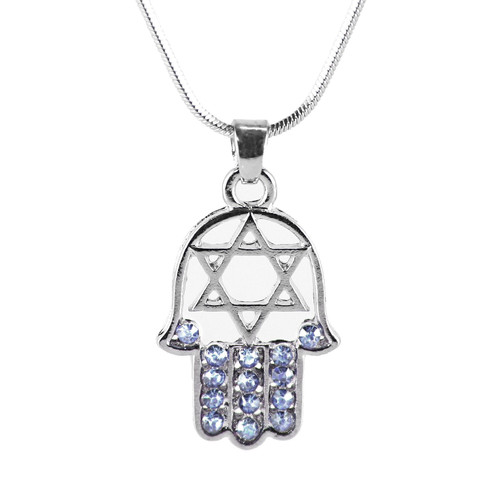 "Sky HAMSA ""Star of David"" Necklace Crystals silver Tone Amulet Pendant Jewish"