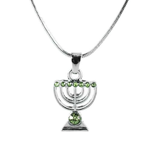 Green Jewish Yisrael Hanukkah MENORAH candelabrum Necklace Kabbalah Judaica