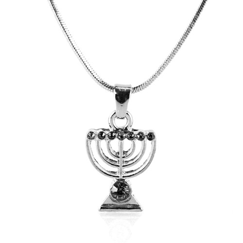 Black Jewish Yisrael Hanukkah MENORAH candelabrum Necklace Kabbalah Judaica