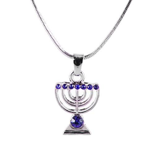 Blue Jewish Yisrael Hanukkah MENORAH candelabrum Necklace Kabbalah Judaica