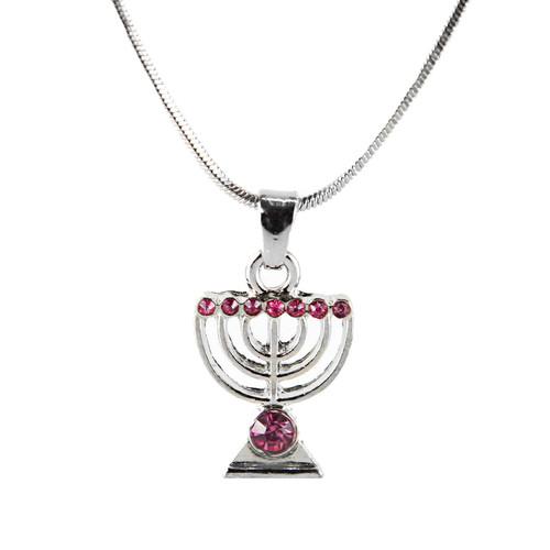 Red Jewish Yisrael Hanukkah MENORAH candelabrum Necklace Kabbalah Judaica