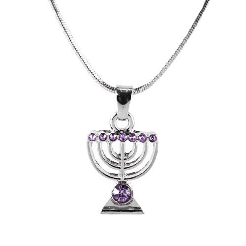 Purple Jewish Yisrael Hanukkah MENORAH candelabrum Necklace Kabbalah Judaica