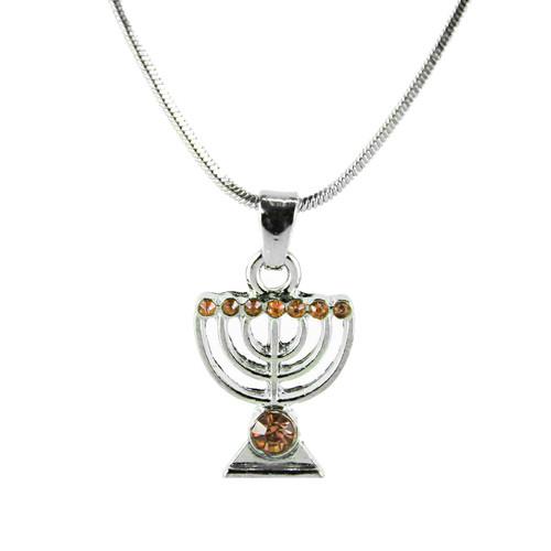 Orange Jewish Yisrael Hanukkah MENORAH candelabrum Necklace Kabbalah Judaica