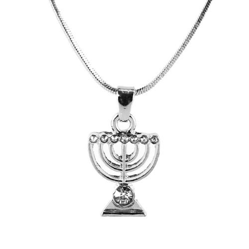 White Jewish Yisrael Hanukkah MENORAH candelabrum Necklace Kabbalah Judaica