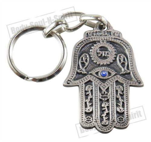"""Mazal"" Lucky Hamsa Key Chain Ring EVIL EYE Jewish Judaica Amulet Hebrew Pendant"
