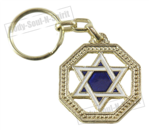 """Star of David"" Israel Charm Pendant Amulet Judaica Key Ring Chain Protection"