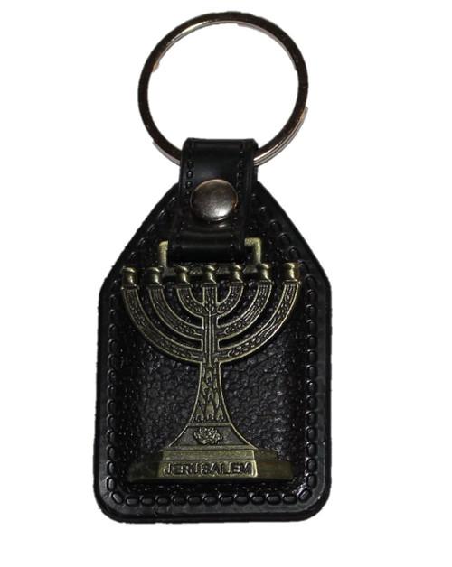Israel MENORAH Pewter tone Key Ring Chain Judaism holy Jerusalem Gift Pendant
