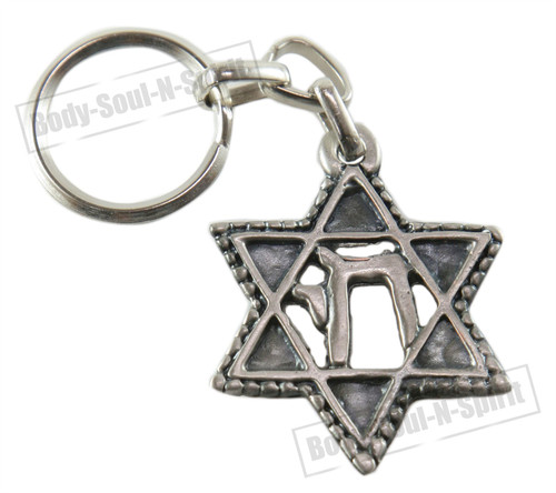 CHAI & Star of David Jewish Kabbalah Key Chain Ring Israel Hebrew Judaica Gift
