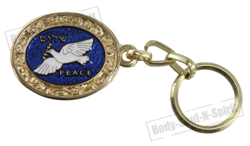 DOVES OF PEACE Blue Hamsa Pendant Gold Color Judaism Judaica Key Ring Chain