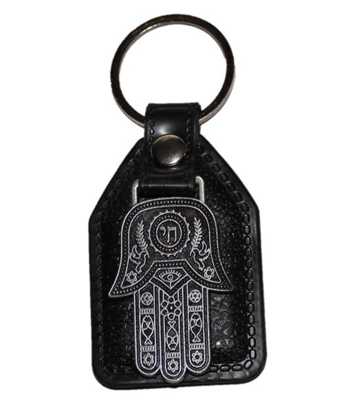 Evil Eye Pewter CHAI Pendant Lucky Hamsa Key Ring Jewish Holyland special gift