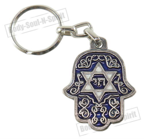 CHAI Star of David Hamsa Israel Judaica Key Ring Jewish Hebrew Travelers Prayer