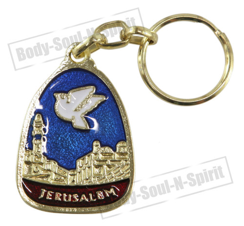 Holy dove JERUSALEM Israel KeyChain ring Amulet Pendant Lucky Charm Judaism