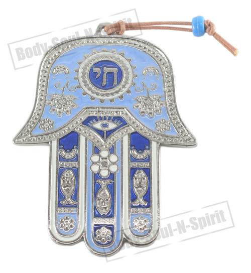CHAI Hamsa Wall Hanging Judaica silver plated Pendant Lucky Gift Kabbalah