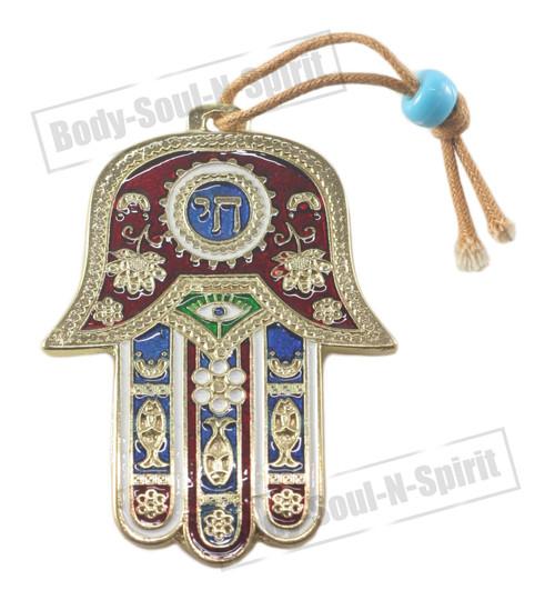 """""""CHAI"""" Hamsa Wall Hanging Judaica Kabbalah Gold plated Pendant Lucky Charm Gift"""