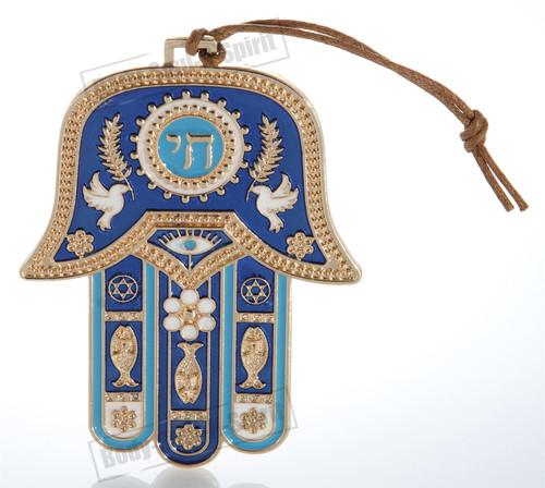 Gold tone Hamsa hand Blue Wall Hanging decor Lucky Charm CHAI Judaica Kabbalah