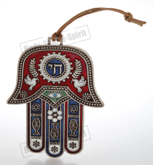 Silver tone RED CHAI Hamsa hand Wall Hanging Lucky Charm Judaica Kabbalah gift
