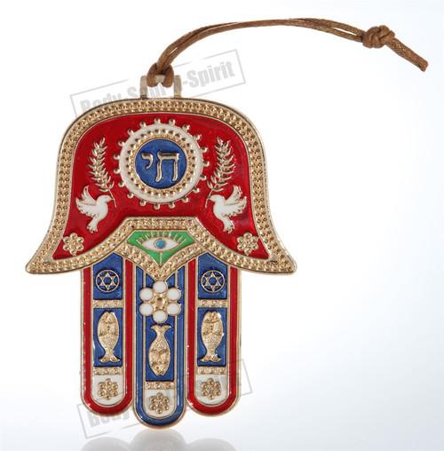 Hamsa hand Red Wall Hanging decor Lucky Charm CHAI Judaica Kabbalah Gold Tone