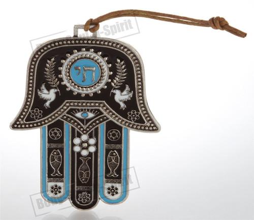 Hamsa hand Wall Hanging decor Lucky Charm CHAI Judaica Kabbalah silver tone gift