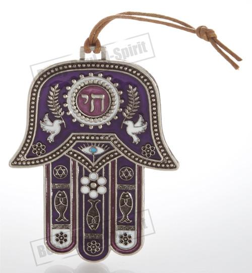 Silver tone CHAI Hamsa hand Wall Hanging Lucky Charm Judaica Kabbalah evil eye