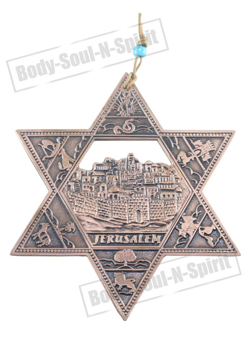 JERUSALEM STAR OF DAVID Copper plated Spiritual protection Judaica Wall Hanging