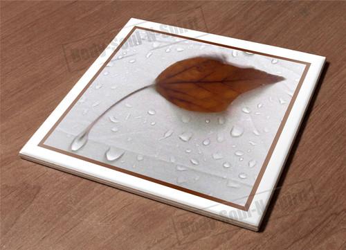 Trivet Kitchen Hot Plate Holder Ceramic Tile rain leaf water dew wet fabric gift