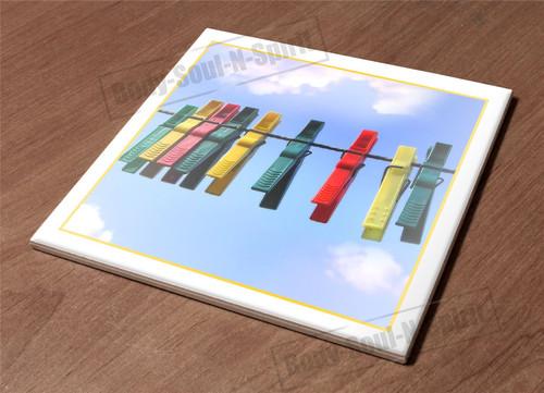 HotPlate Kitchen Trivet Holder Ceramic Tile clips dry sky rope pins wash funny