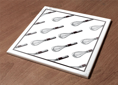 Ceramic Hot Plate kitchen Trivet Holder abstract eggbeater shadow cooking