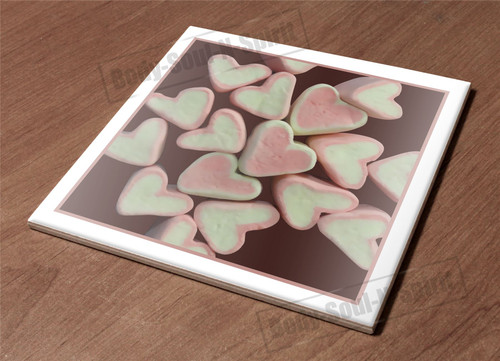 Kitchen Trivet Holder Ceramic Tile Hot Plate Marshmallow Candy Heart Texture