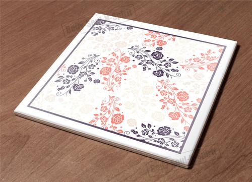 floral sketch paint decor Ceramic Hot Plate kitchen Trivet Holder design gift