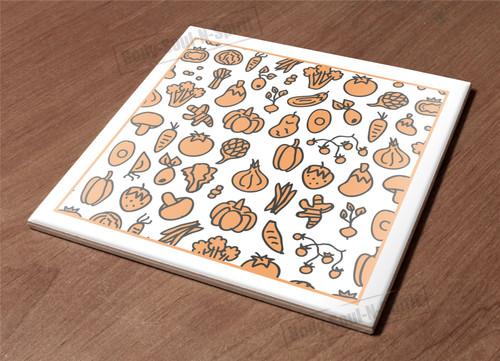 Ceramic Hot Plate kitchen Trivet Holder veggies sketch paint decor design gift