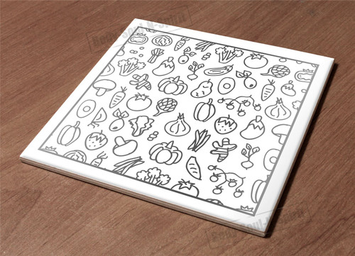 Ceramic Hot Plate kitchen Trivet Holder vegy sketch paint decor design gift