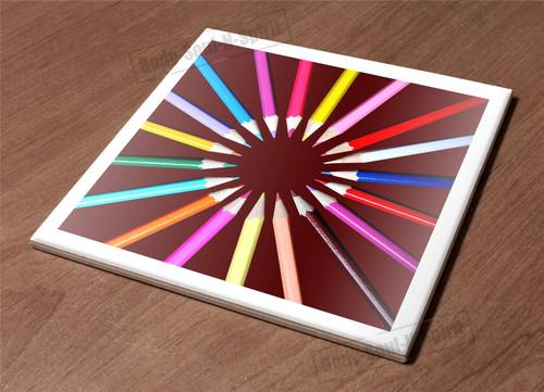 Ceramic Hot Plate kitchen Trivet Holder pencil circle drawing art decor design