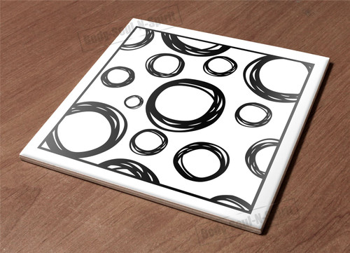Ceramic Hot Plate kitchen Trivet Holder circle drawing paint decor design gift