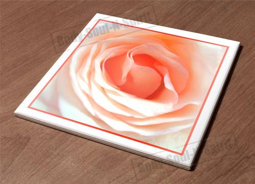 Ceramic Tile HotPlate kitchen Trivet Holder cream rose peach decor nature garden