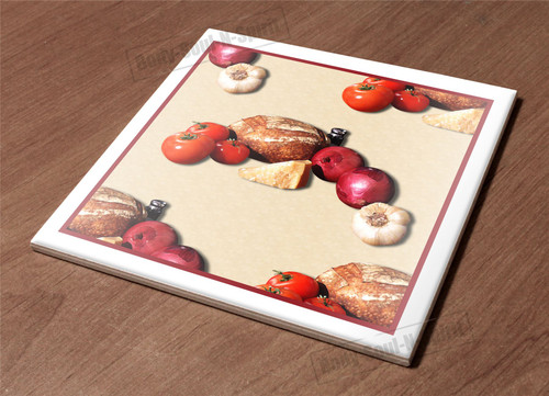 Ceramic Hot Plate kitchen Trivet Holder cheese tomato bread salt health decor