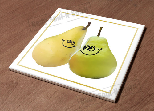 HotPlate Kitchen Trivet Holder Ceramic Tile pair pears paces funny art decor