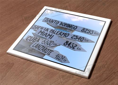Trivet Holder Ceramic Tile Hot Plate sign post road distance arrow direction