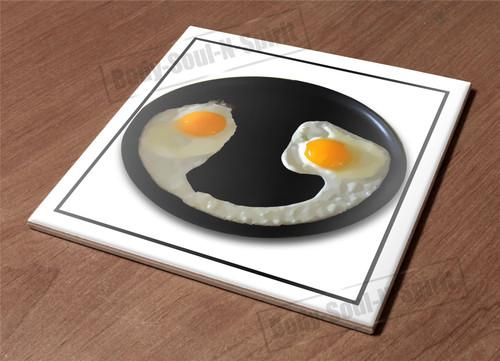 Ceramic Tile HotPlate kitchen Trivet Holder egg face funny humor breakfast food